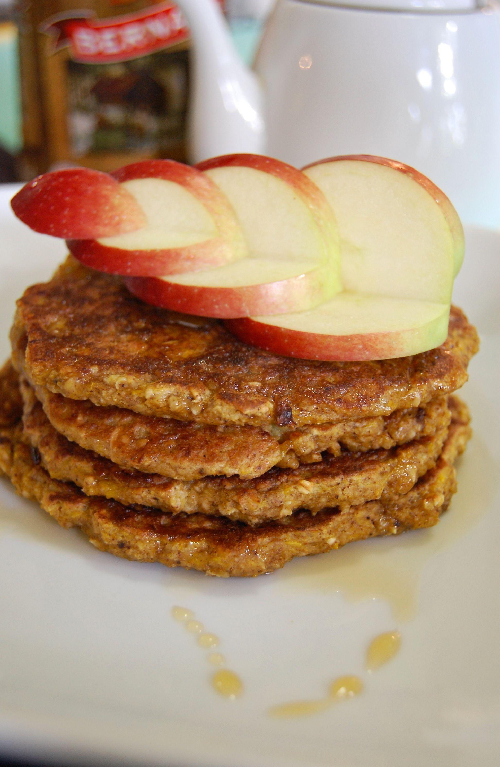Gluten free pumpkin oat pancakes veggie pawa fruit
