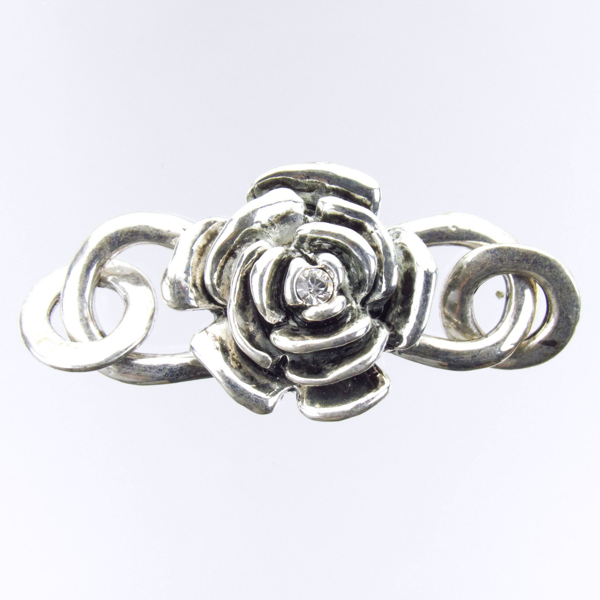 32x18mm In Full Bloom Rose Preciosa Crystal Antique Silver Finish Alloy Metal S-Hook Clasp (PC3)