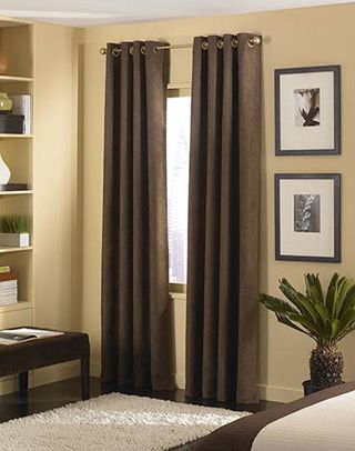 Brown Curtains Warm Yellowish Beige Walls White Area Rug I Love