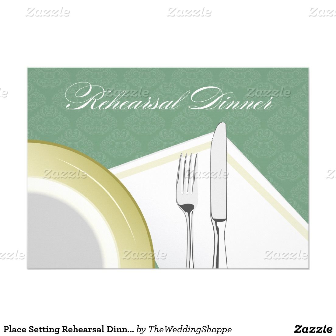 Place Setting Rehearsal Dinner Invitation (green)