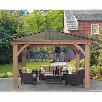Costco 2000 Delivered Yardistry Wood Gazebo 12 Ft X 14 Ft With Aluminum Roof Outdoor Pergola Patio Gazebo Pergola Patio