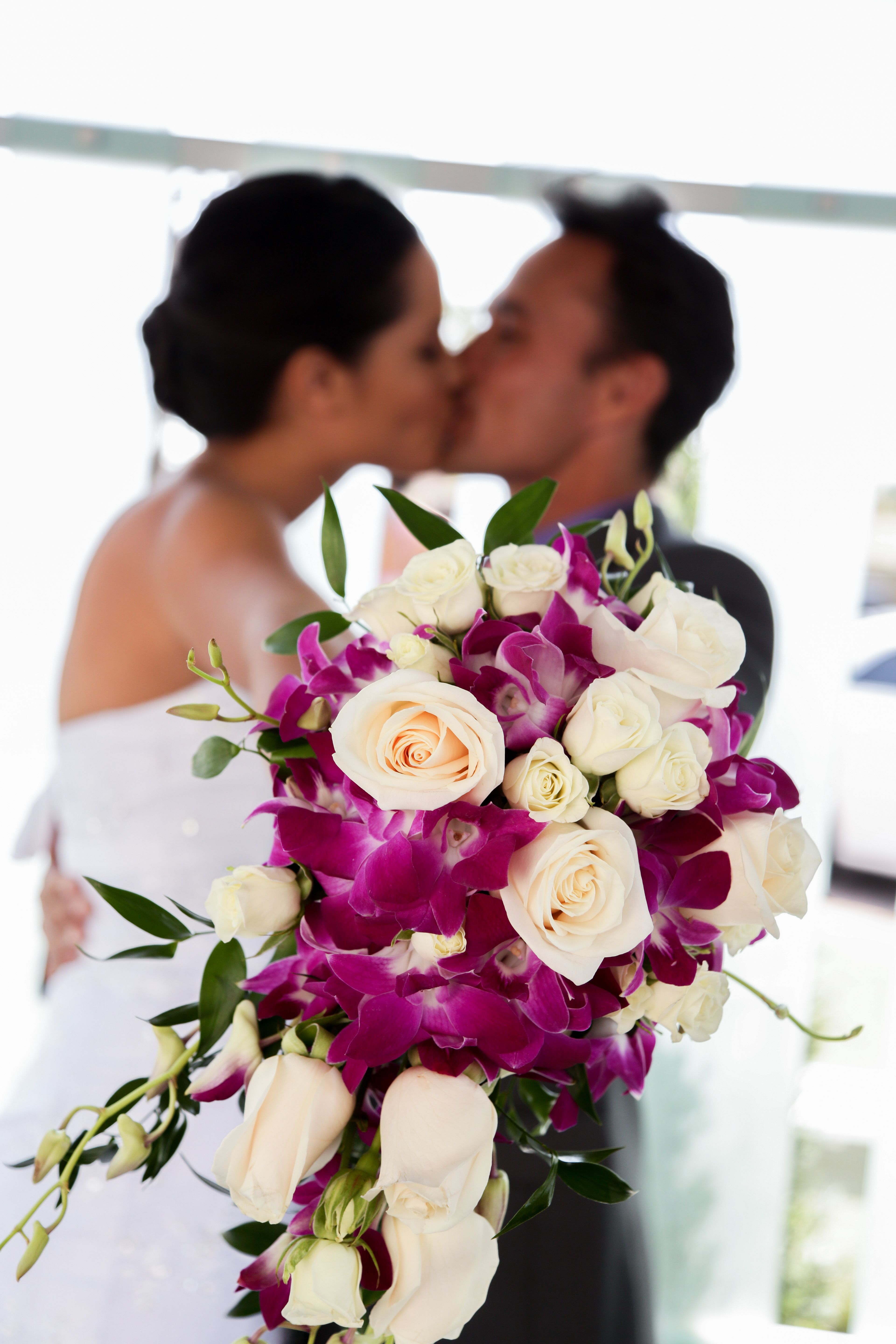 Purple Orchid With White Rose Bridal Bouquet Wedding Flower Ideas