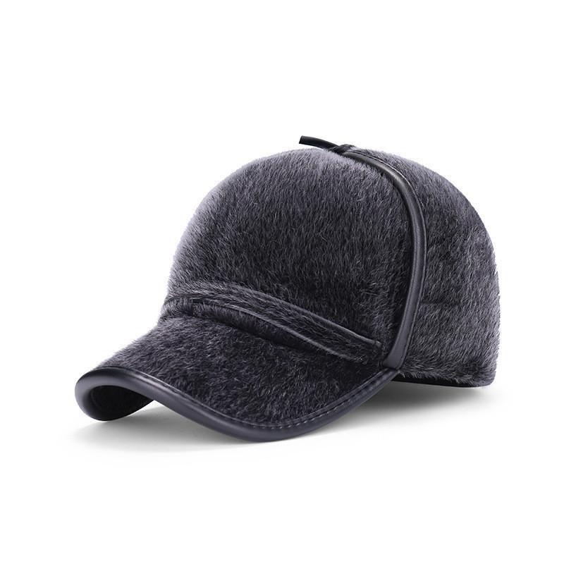 9cb0404bb62 High Quality Men s Winter Imitation Mink Baseball Cap Warm Mens Winter Hats  Ear flaps Plus Velvet Thick Middle Aged Elderly Hat