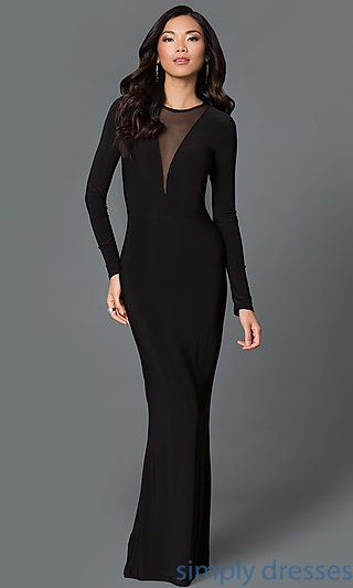 Floor Length Black Long Sleeve Formal Gown with Sheer Panels at  SimplyDresses.com e7238a55f69b