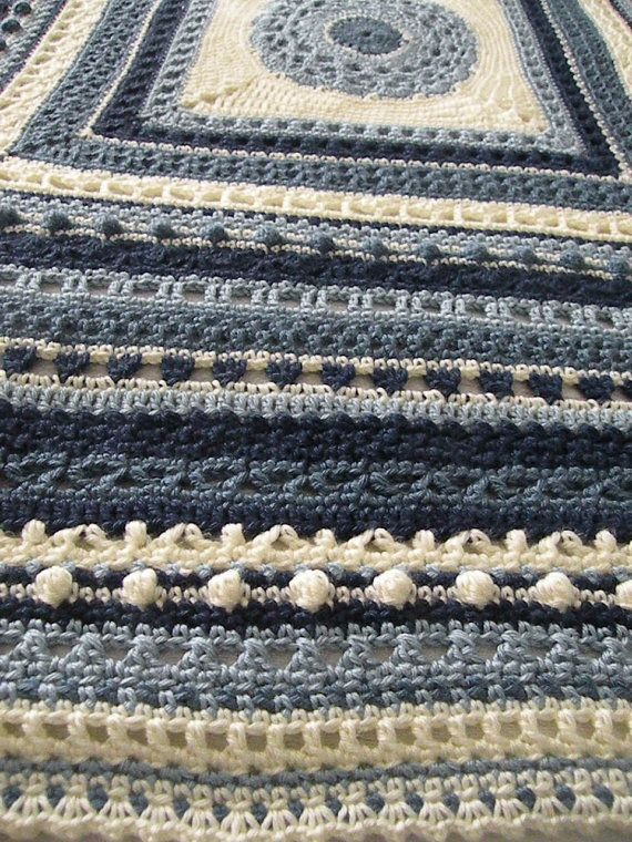 Crochet Stitch Sampler Afghan Heirloom Shades Of Blue By Sewitnona