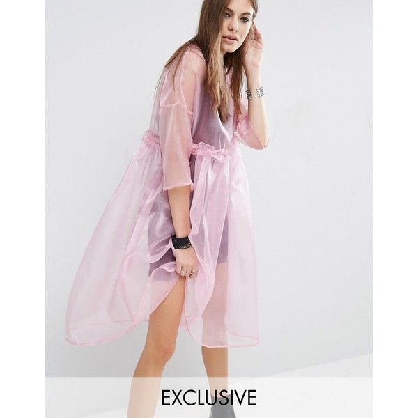Reclaimed Vintage Oversized Sheer Tulle Dress With Cami Slip (£86) ❤ liked on Polyvore featuring dresses, pink, pink ruffle dress, see-through dresses, pink cami, ruffle dress and slip dress