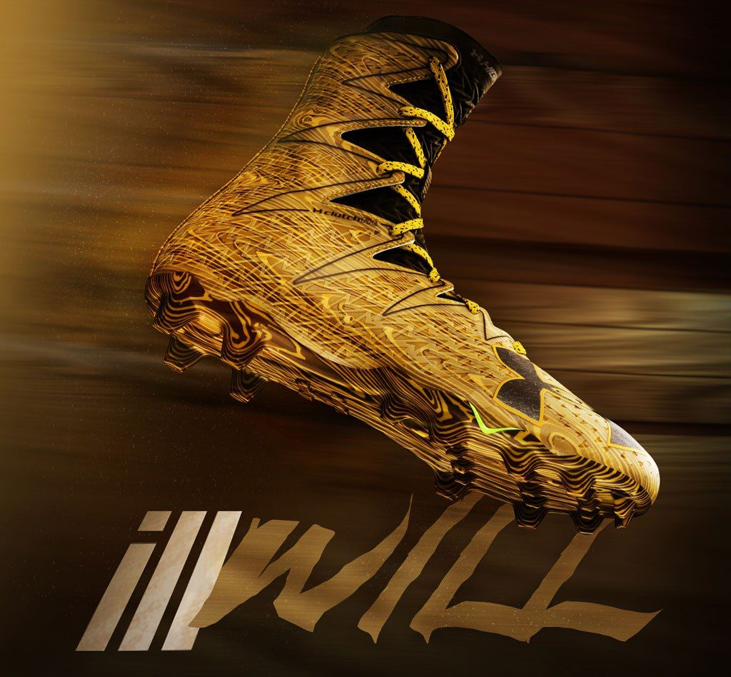 Image result for gold under armour football cleats cool