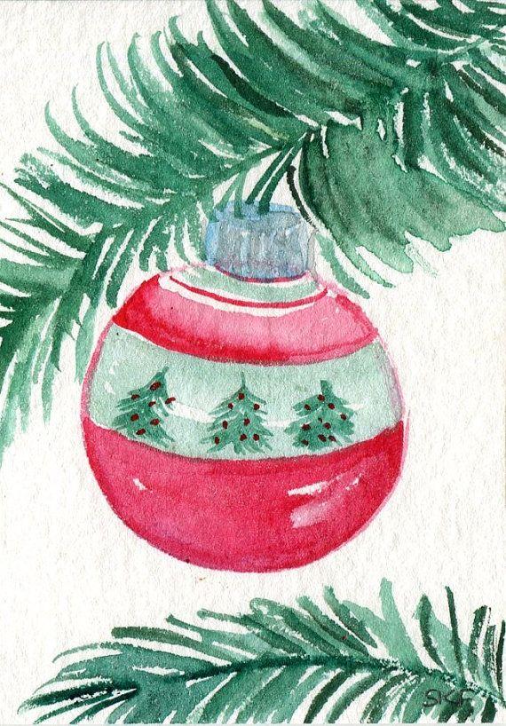 Acuarela de ornamento de navidad de aceo original peque a - Tarjeta navidad original ...