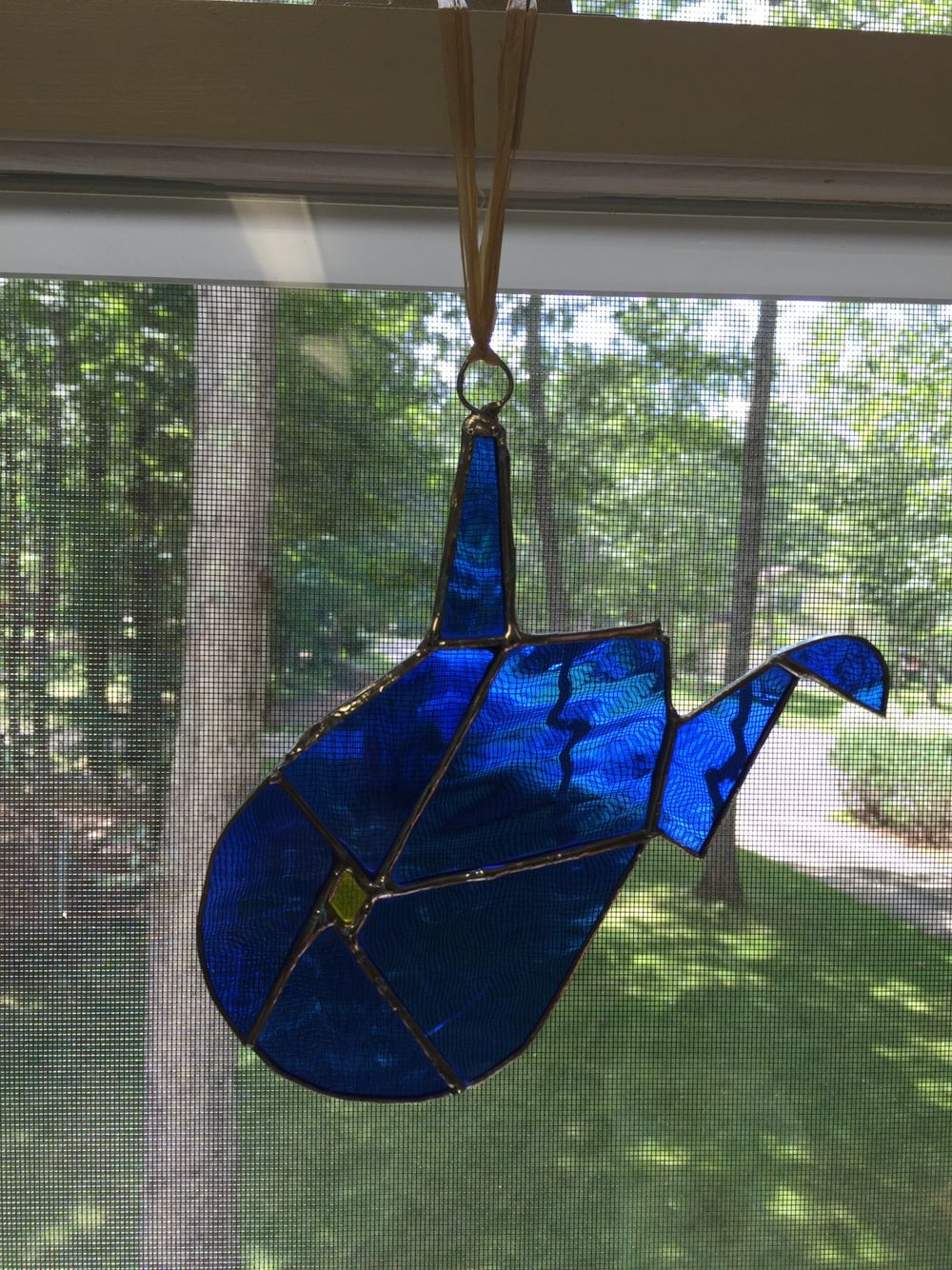 Blue WV stained glass sun catcher
