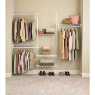ClosetMaid SuperSlide 5 Ft. To 8 Ft. Metal White Closet Organizer Kit 5636  At The Home Depot   $54.99