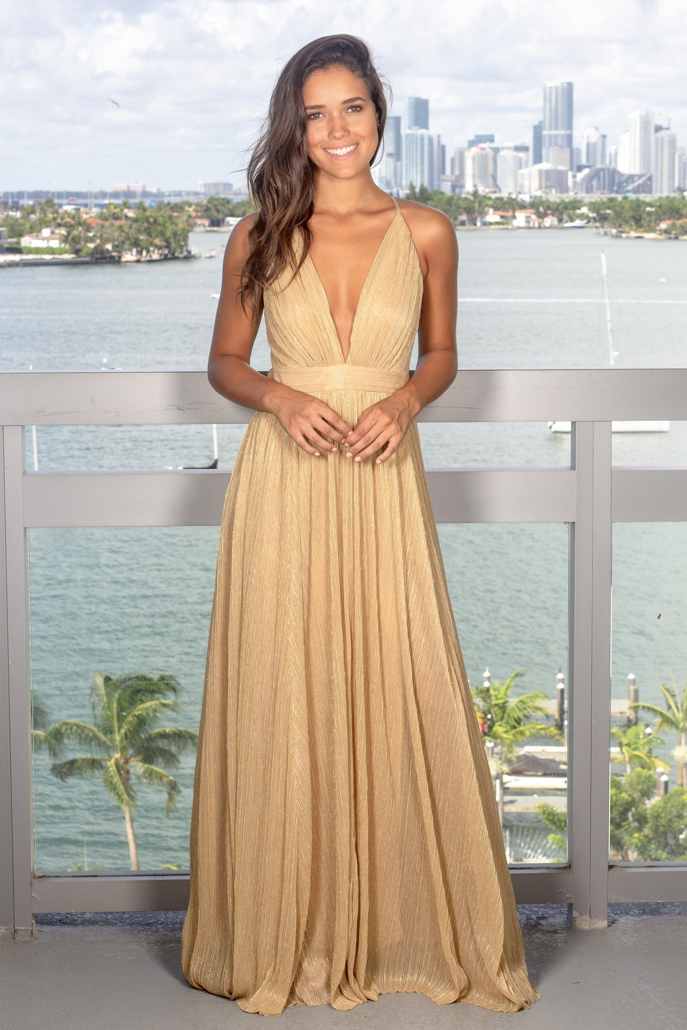 Gold maxi dress with criss cross back fashion pinterest maxi