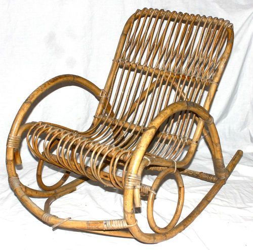 Vintage Mid Century Modern Rattan Bamboo Rocking Chair Rocker Awesome | EBay