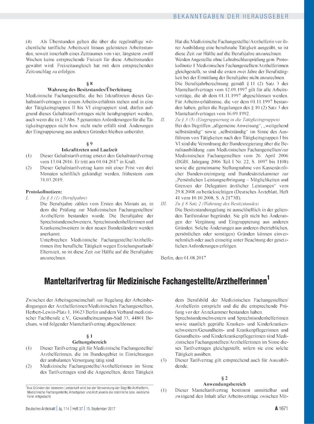 Manteltarifvertrag Fur Medizinische Fachangestellte Arzthelferinnen Medizinische Fachangestellte Angestellte Medizin