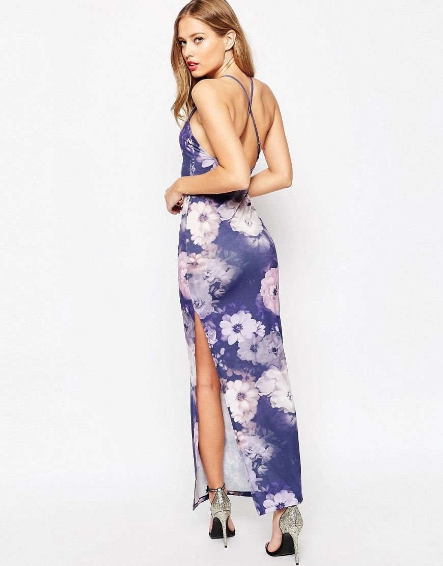 Buy it now asos halter strappy back floral print maxi dress multi