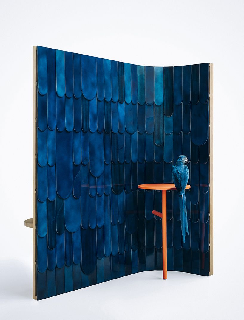the 'ARA' screen by grégoire de lafforest and mireille herbst, contains a multi-layered exterior which makes reference to the tropical macaw parrot.
