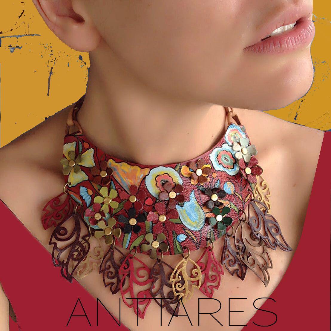 Brown Leather Necklace Customizable Collar De Cuero Flores De  # Puka Muebles Oriente
