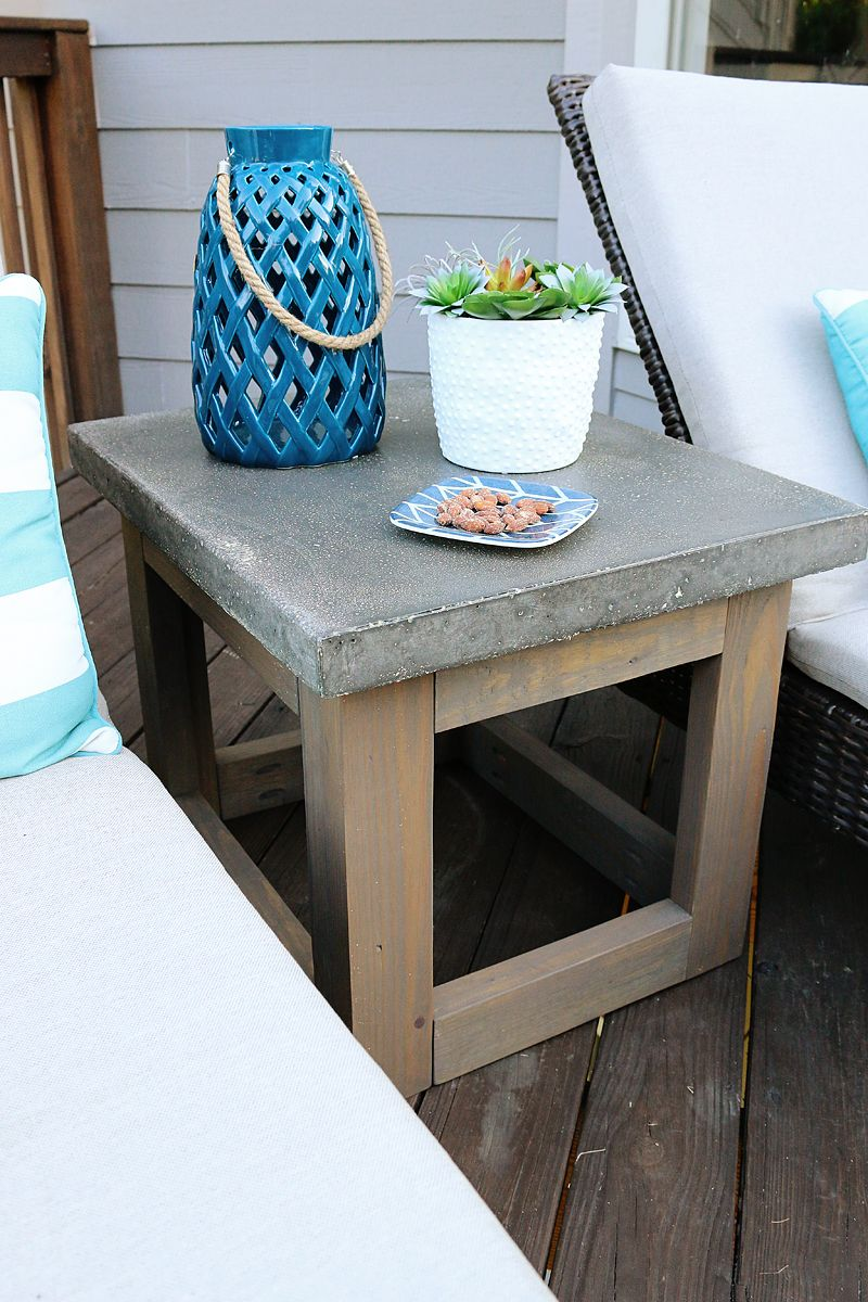 Concrete Wood Outdoor Side Table Patio Side Table Outdoor