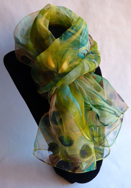mode designer magasin en ligne styles de variété de 2019 Echarpe foulard en mousseline de Soie peint main vert ...