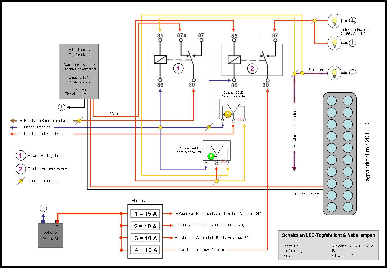Schaltplan Tagfahrleuchte und Nebelscheinwerfer | Yamaha fj 1200 ...