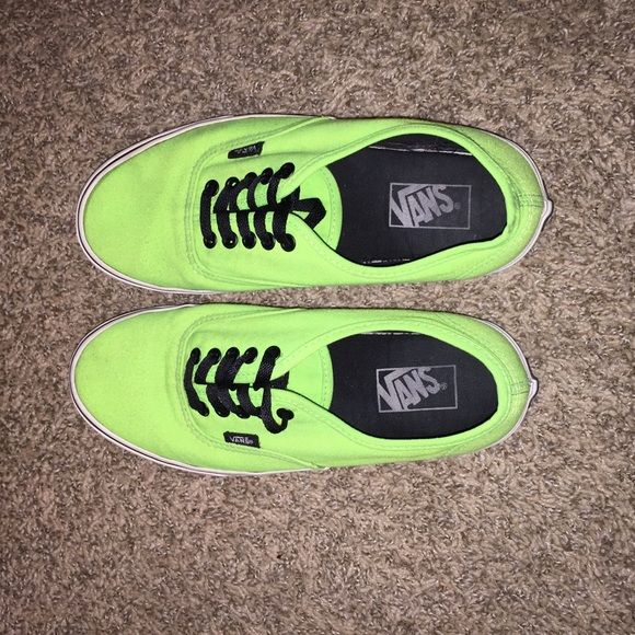 NEON GREEN VANS Perfect condition. Super bright neon green vans. Men's 8/ women's 9.5 Vans Shoes Sneakers