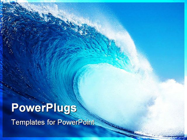 ppt template big blue wave surfing in the ocean title
