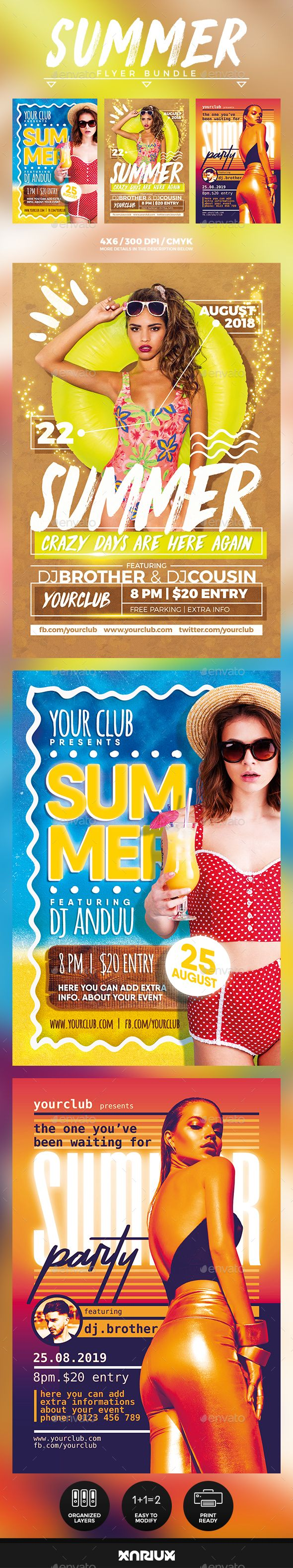 Summer Flyer Bundle  Party Flyer Flyer Template And Event Flyers