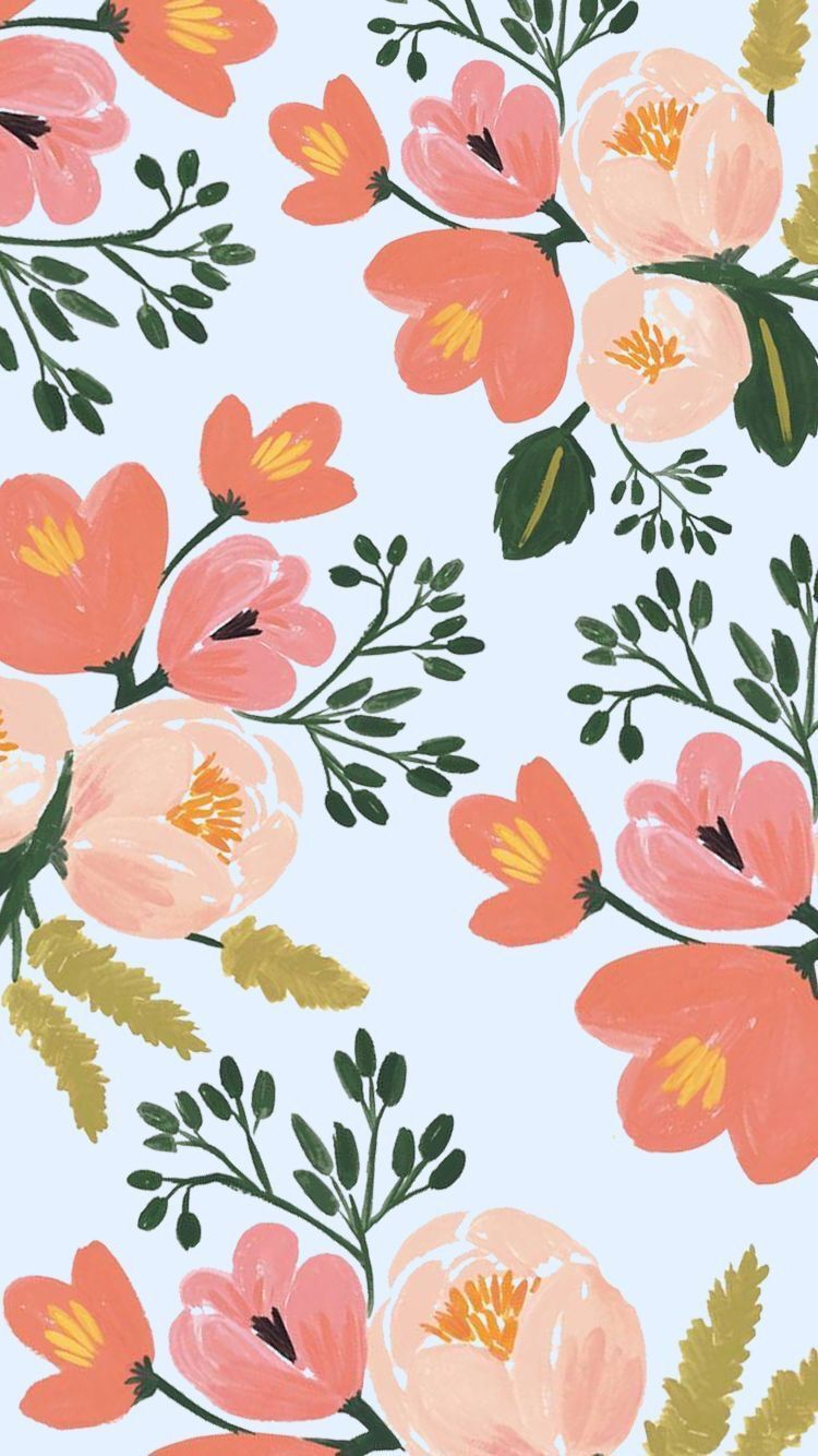Peach floral Floral wallpaper iphone, Tumblr iphone