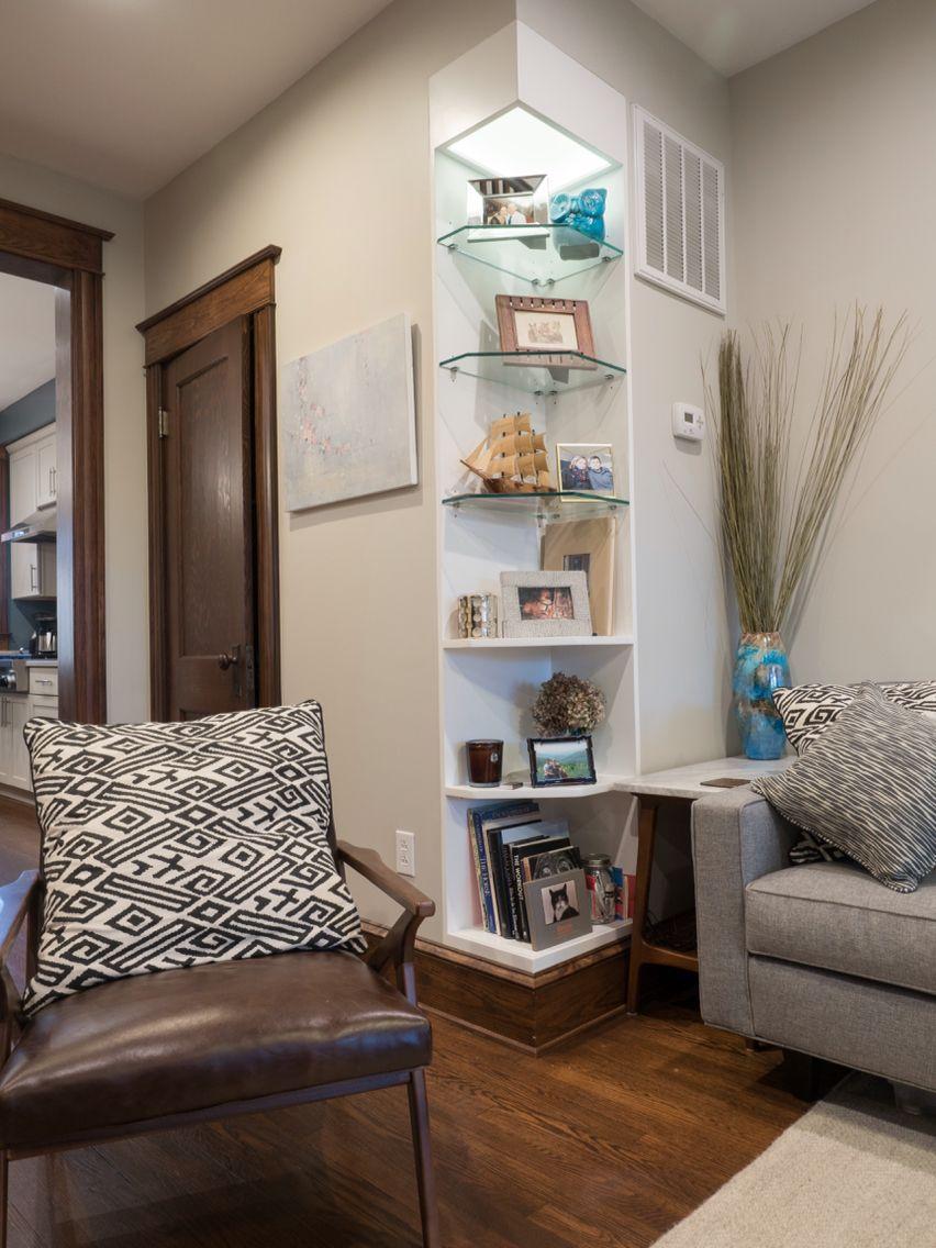 Corner Lighting Bookshelf Built In To Outside Corner Of Living Room Wall Diffused
