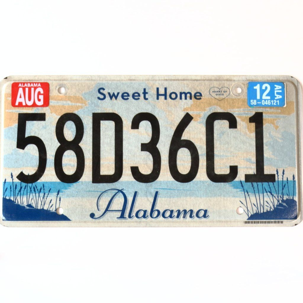 2012 Alabama Sweet Home Alabama License Plate 58D36C1