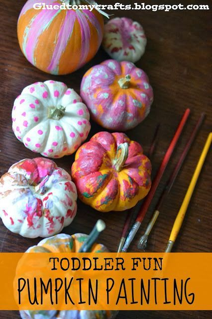 Toddler Fun - Pumpkin Painting {Fall Craft} #halloweencraftsfortoddlers