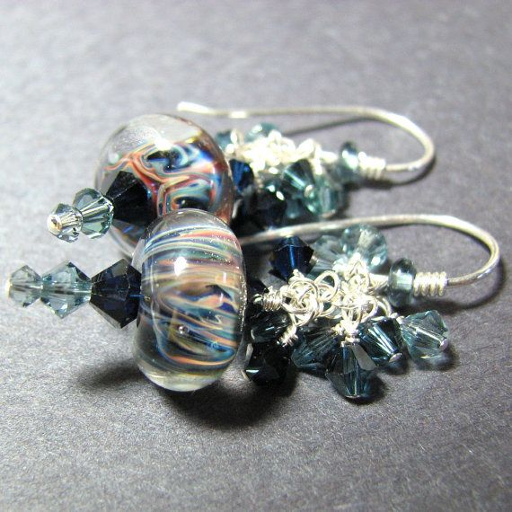 Blue dangle boro bead earrings  lampwork beads by SundaezChild,