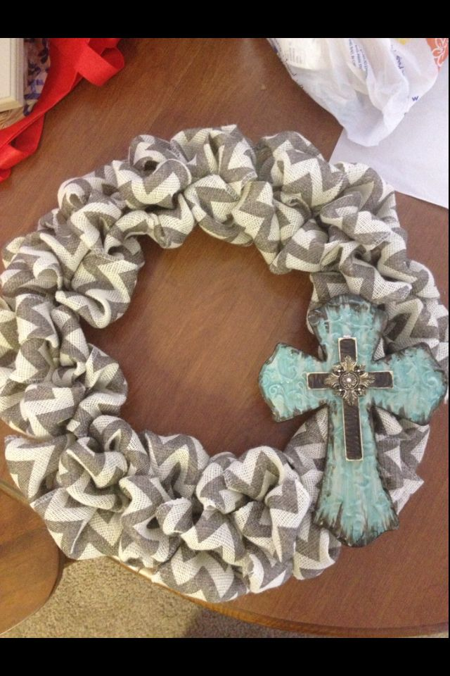 Photo of Chevron burlap wreath with a cross. I LOVE LOVE LOVE that! I totally do o …