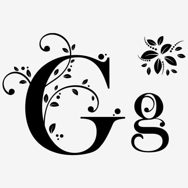 Font Alphabet Letter G With Ornaments Vintage Upper And