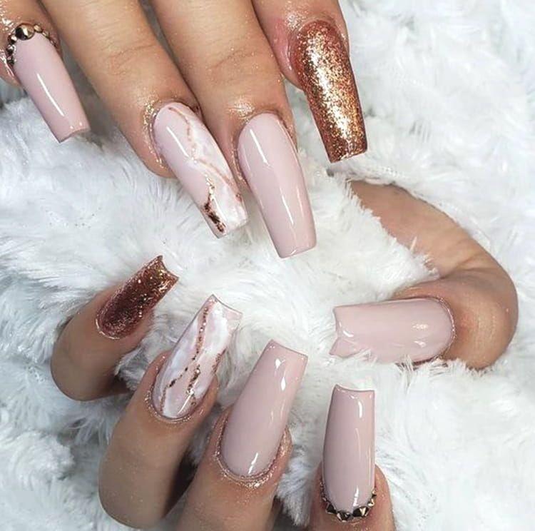 10 Elegant Rose Gold Nail Designs That You Should Try Rose Gold Nails Design Fall Acrylic Nails Gold Nail Designs