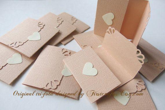 Mini note cards- Small cards- Mini notecards- Peach cards- Tri-fold