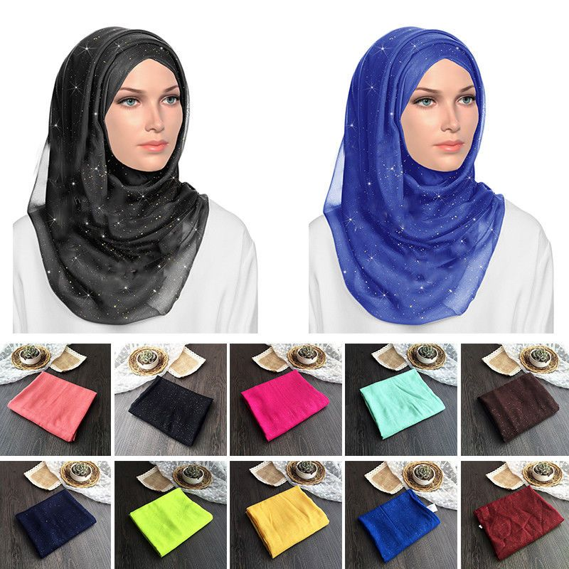 Ladies Plain Color Shiny Shimmer Glitter Sparkly Scarf Hijab Shawl Wrap Wedding
