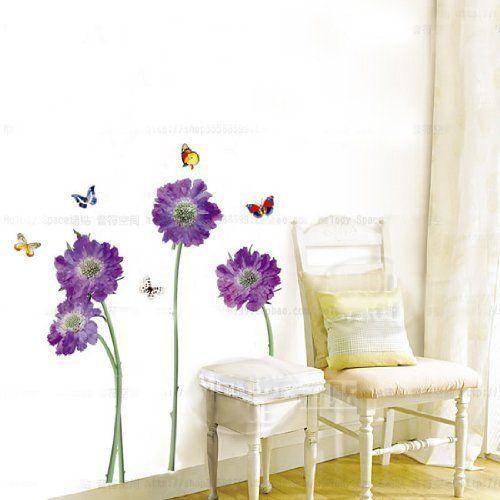 DGI MART Nursery Wall Decor Purple Flower Butterfly Vinyl Removable Wall Sticker Decal Paper for Nursery Hall Kid Boy Girl Playroom Bedroom Decoration:Amazon:Baby