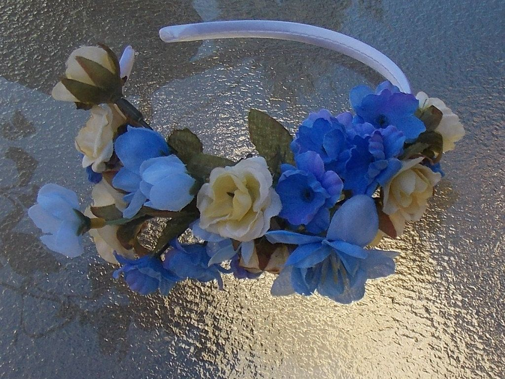 Light Blue and Yellow Fairy Flower Fascinator Headband, Yellow Rose Floral Wreath with Blue Blossoms for Weddings or Fairy Dress Up G07