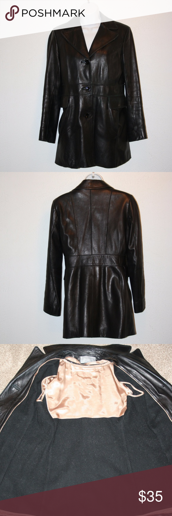 """ANN TAYLOR Black Leather Jacket Coat Sz 2 C: 37"""" Ann Taylor  Good Condition  NOTE:  There is a scruff and some light scratches on front chest and wear on front pocket, there is a hole in the lining of one of the four pockets  Jacket  Black  Four Front Pockets  Three Button Closure  Zip Out Wool Lining  Soft Feel    Chest:  37"""" (armpit to armpit, then doubled)  Waist:  34""""  Outside Sleeve Length:  23 1/2""""  Length:  32""""   Shoulder Seam to Shoulder Seam:  16""""  Shell:  100% Leather  Lining…"""