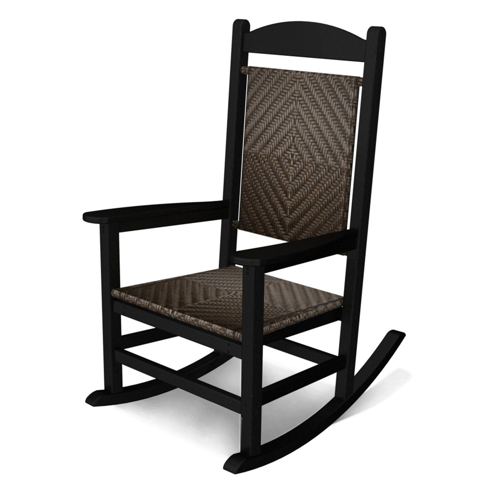 Outdoor Polywooda Presidential Recycled Plastic Woven Rocker In