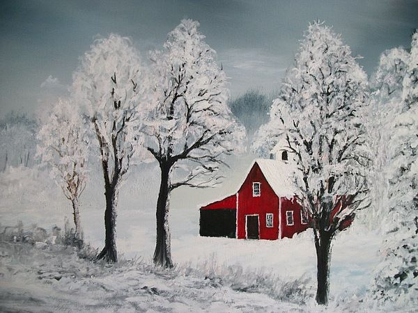 Red barn in winter canvas print canvas art by keith erskine
