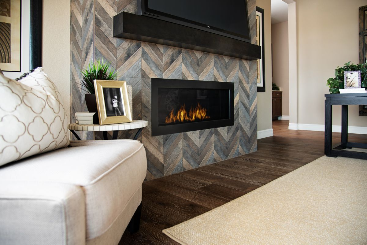 Stunning Chevron Tile Fireplace Dayton Model Home Great Room