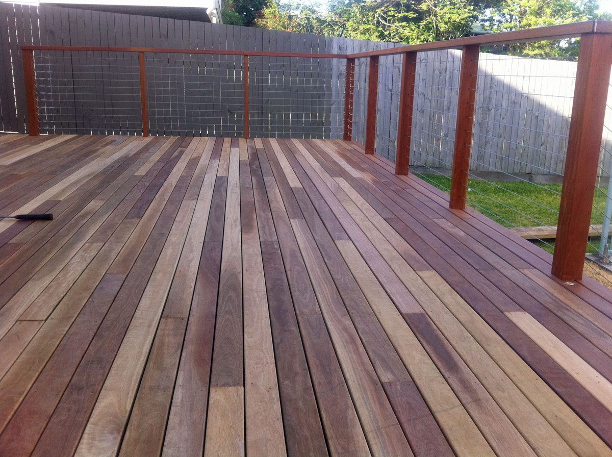 Stainless Steel Wire With Dressed Hardwood Handrail And Posts Timber Deck Deck Builders Deck Garden