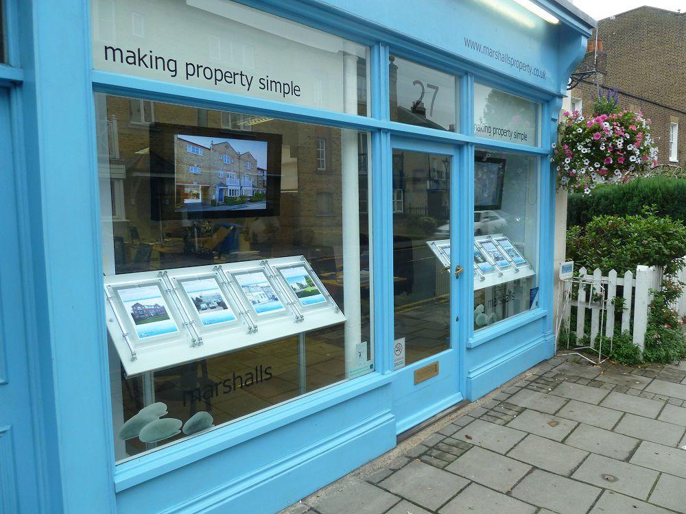 Quaint estate agents Marshall's have enhanced their window