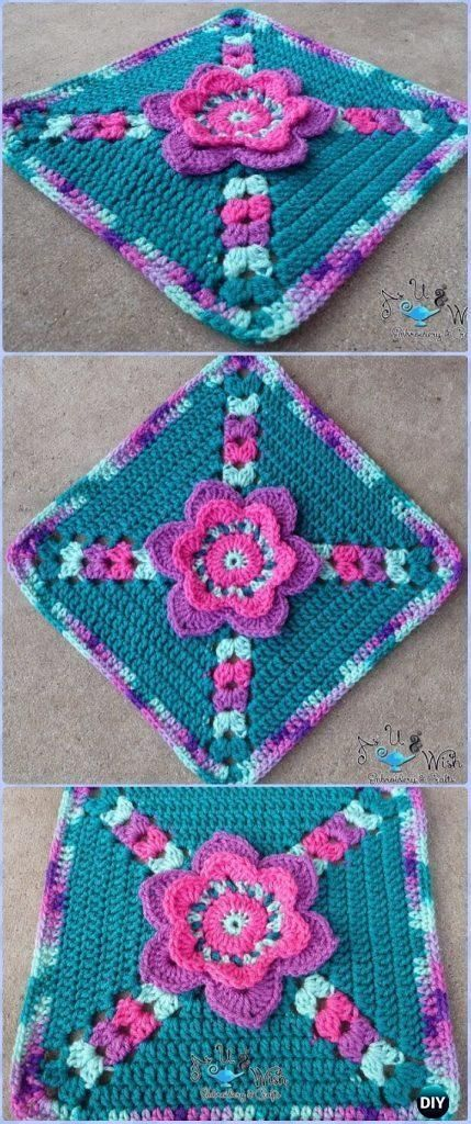 Crochet Tip Toe Through The Tulips Granny Square Free Pattern