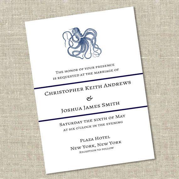 Octopus Gay Wedding or Commitment Ceremony Invitation Gay wedding