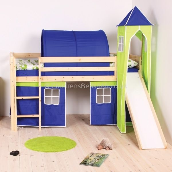 Perth Pine Mid Sleeper Bed With Play Tent Slide Bed With Slide Boys Cabin Bed Cabin Bed With Slide