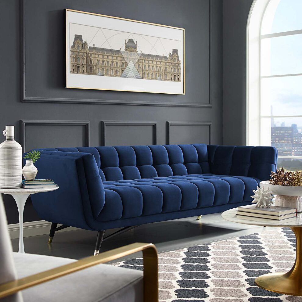 Adept Midnight Blue Sofa Eei 3059 Mid Modway Furniture Fabric Sofas In 2020 Velvet Sofa Living Room Blue Sofa Living Blue Sofas Living Room