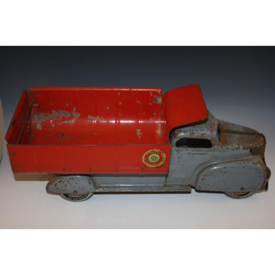 MARX 1940'S DUMP TRUCK VINTAGE LARGE LUMAR CONTRACTORS GRAY AND RED