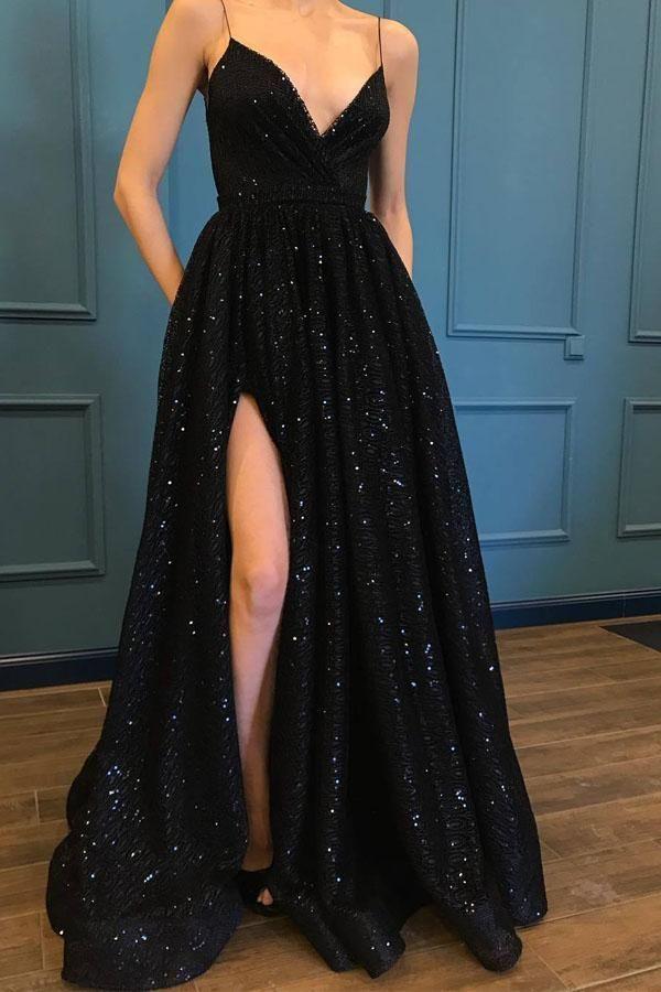 SPAGHETTI STRAP BLACK SPARKLE POPULAR LONG PROM/EVENING DRESSES PG835 #promdresses #eveningdress #splitdress #black #dressofstyle #prommakeup #formaldress #longpromdress #eveningdresses
